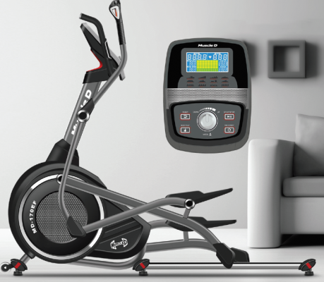 small elliptical for home, cross trainer photograph with details of the screen