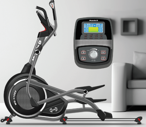 home elliptical, cross trainer photograph with details of the screen