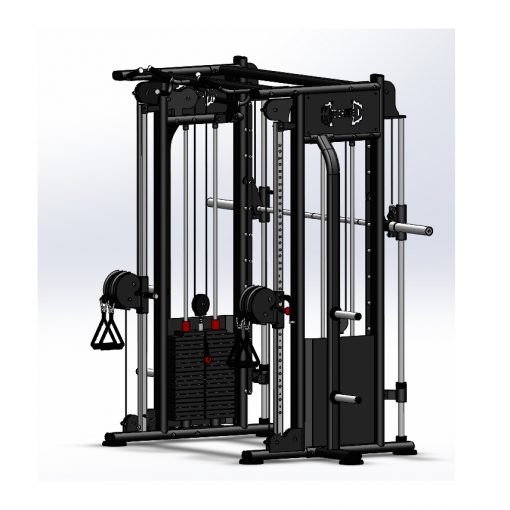 best compact home gym dual adjustable pulley smith machine - back view